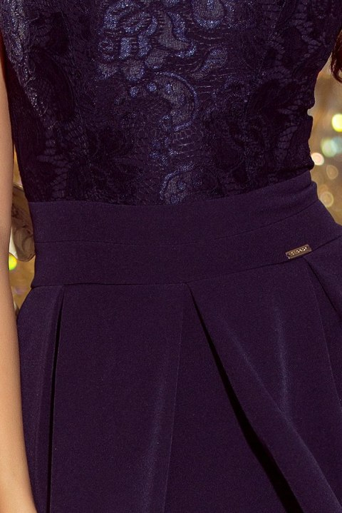 208-1 Dress with lace neckline and pleats - NAVY BLUE