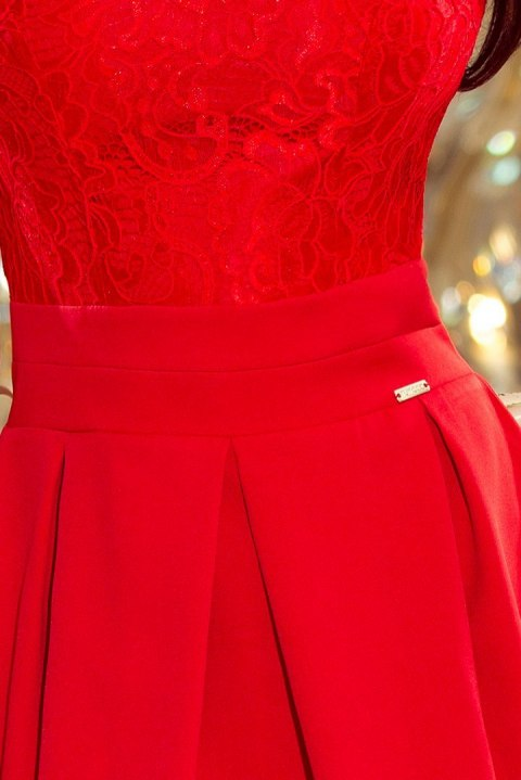 208-2 Dress with lace neckline and pleats - red
