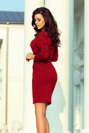 209-3 Dress with a wide tied belt - Burgundy color