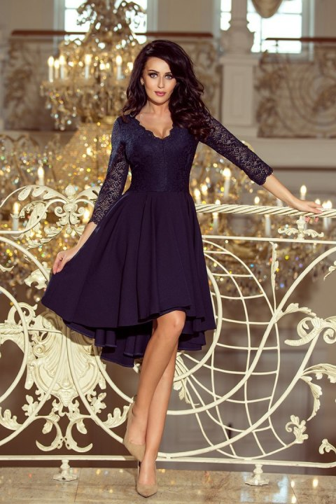 210-2 NICOLLE - dress with longer back with lace neckline - navy blue