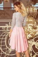 210-5 NICOLLE - dress with longer back with lace neckline - pastel pink + gray