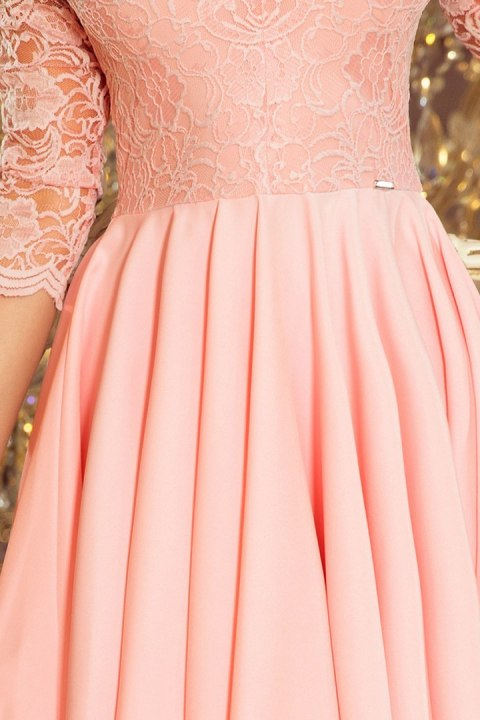 210-7 NICOLLE - dress with longer back with lace neckline - pastel pink