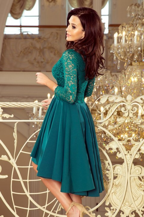 210-8 NICOLLE - dress with longer back with lace neckline - Green