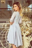210-9 NICOLLE - dress with longer back with lace neckline - Grey