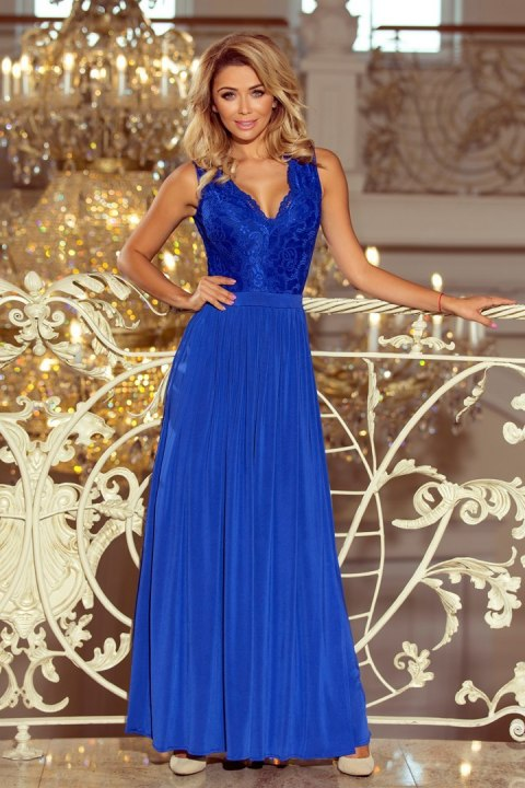 211-3 LEA long dress with lace neckline - royal blue