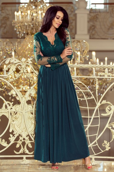 213-1 ARATI long dress with embroidered neckline and long sleeves - dark green