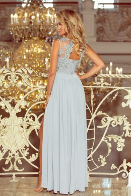 215-1 LEA long sleeveless dress with embroidered cleavage - silver color