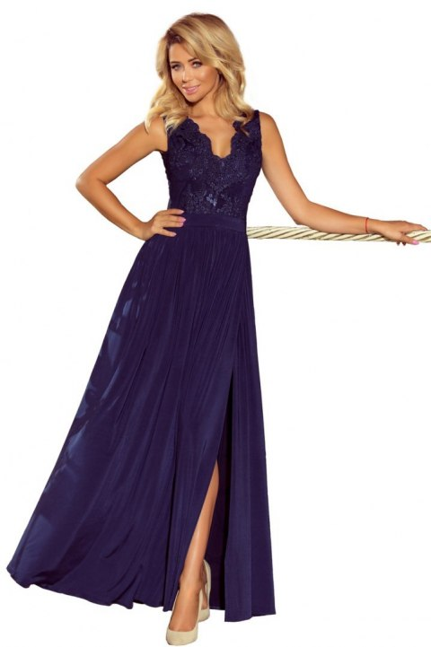 215-2 LEA long sleeveless dress with embroidered cleavage - dark blue