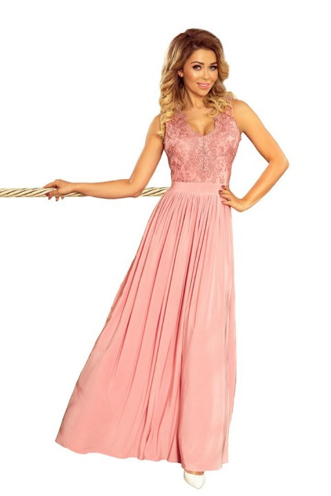 215-3 LEA long sleeveless dress with embroidered cleavage - pink