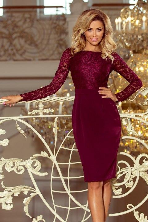 61f8b1c9bd 216-3 EMMA elegancka ołówkowa sukienka z koronką - BORDOWA ...
