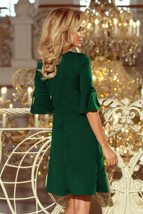 217-2 NEVA Trapezoidal dress with flared sleeves - dark green
