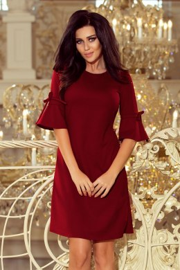 217-3 NEVA Trapezoidal dress with flared sleeves - Burgundy color