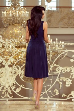 219-1 GIULIA - Flared midi dress with a neckline - NAVY BLUE