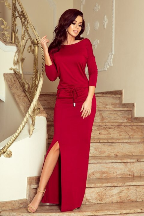 220-3 MAXI sporty dress - Burgundy color