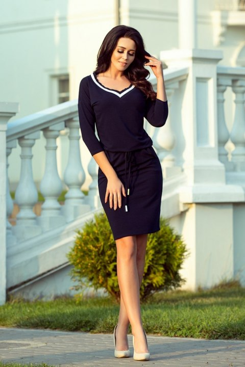 224-1 Sporty dress with a welt - dark blue