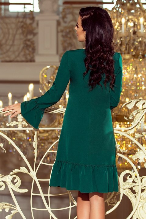 226-1 PARI Dress with ruffles - dark green