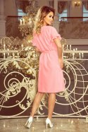229-1 ROSE dress with ruffles on the sleeves - pastel pink