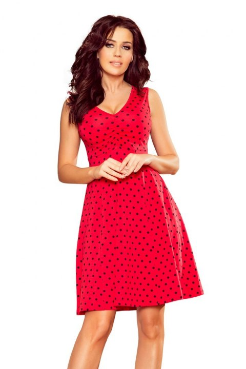 238-1 BETTY flared dress - red + polka dots