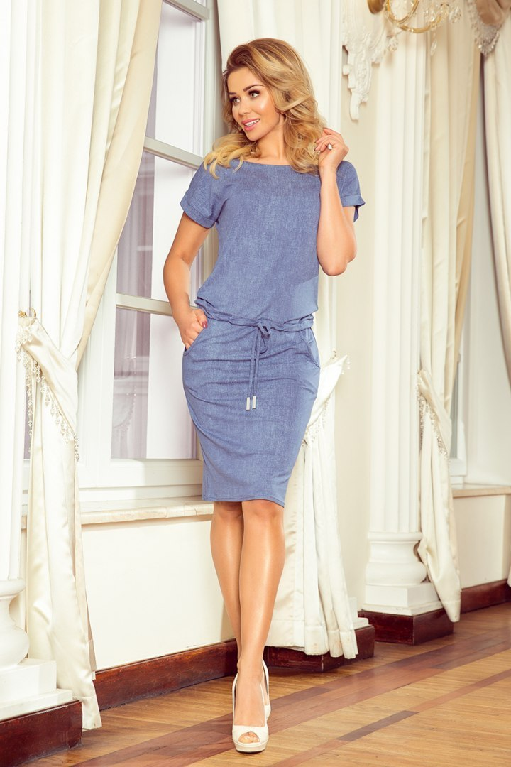 139-6 Short sleeve sport dress - jeans