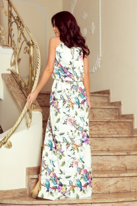 191-6 Long dress tied at the neck - colorful roses and blue birds