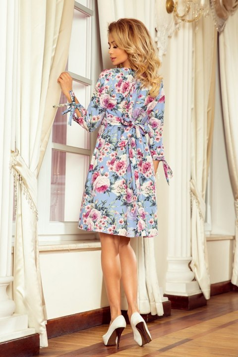 195-9 ALICE Dress with bows - Blue + flowers