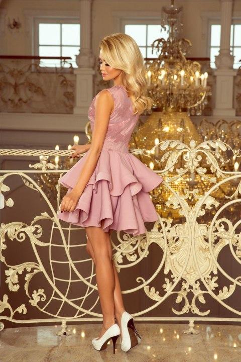 6a304db58c4c79 ... 200-10 CHARLOTTE - ekskluzywna sukienka z koronkowym dekoltem - LILA