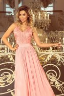 215-4 LEA long sleeveless dress with embroidered cleavage - pastel pink