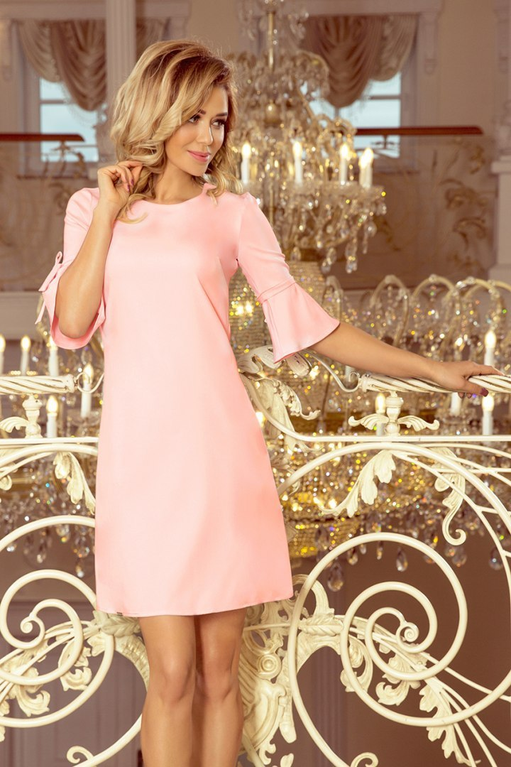217-4 NEVA Trapezoidal dress with flared sleeves - pastel pink