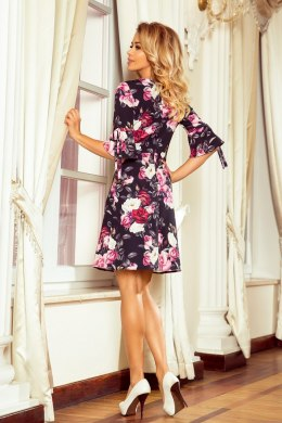 217-5 NEVA Trapezoidal dress with flared sleeves - black + flowers