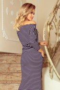 220-5 MAXI sporty dress - white and navy blue stripes