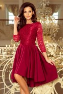 231-1 OLIVIA - asymmetrical dress with lace - burgundy color