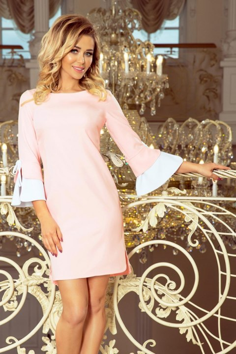 232-2 GRACE dress with white sleeves - pastel pink