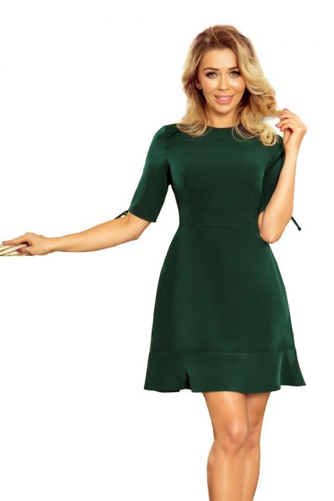 235-2 Dress with frills and binding on the sleeves - dark green