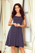 241-1 STELLA Dress with a neckline - dark blue in polka dots