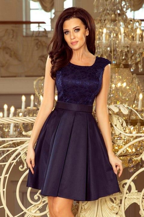 32e27f2aa0 244-2 FLORA sukienka z okrągłym dekoltem i koronką - GRANATOWA ...