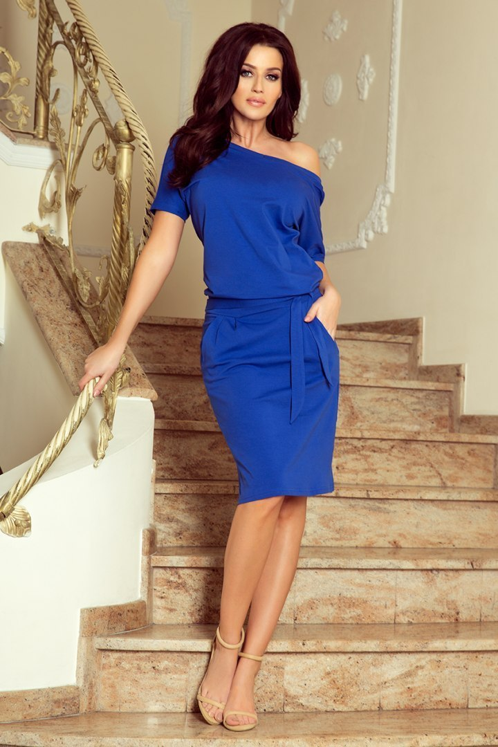 249-1 CASSIE - dress with short sleeves - royal blue